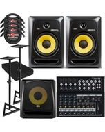 "KRK RP8G3 ROKIT 8 G3 8"" Studio Monitor Black Pair with 10S V2 Sub, Mackie Mixer, Stands, Cables, and Isolation Pads"
