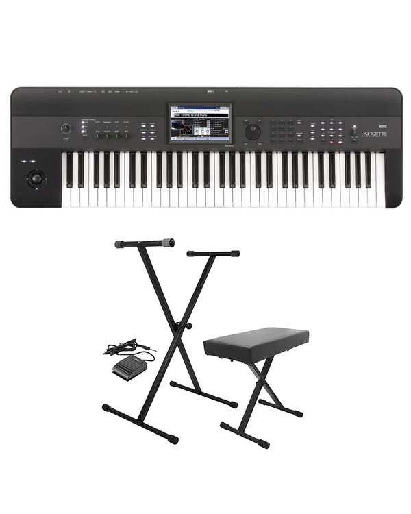 Korg Krome 61-Key Keyboard Workstation with Stand, Bench, & Sustain Pedal