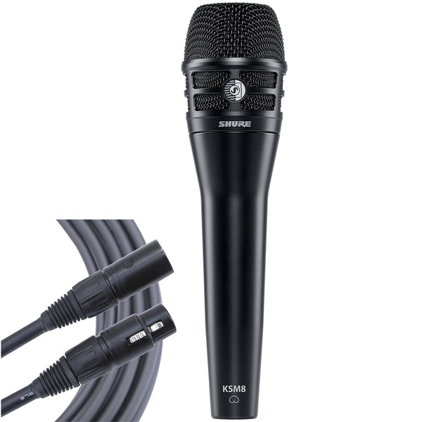 Shure KSM8 Dualdyne Black Handheld Vocal Microphone with 25 ft Mogami XLR Cable