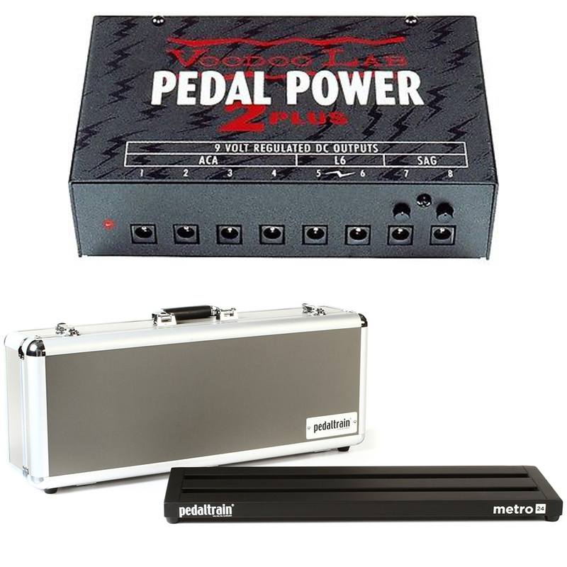 """Pedaltrain Metro 24 24""""x8"""" Pedalboard with Hard Case and Voodoo Lab Pedal Power 2 Plus Power Supply"""