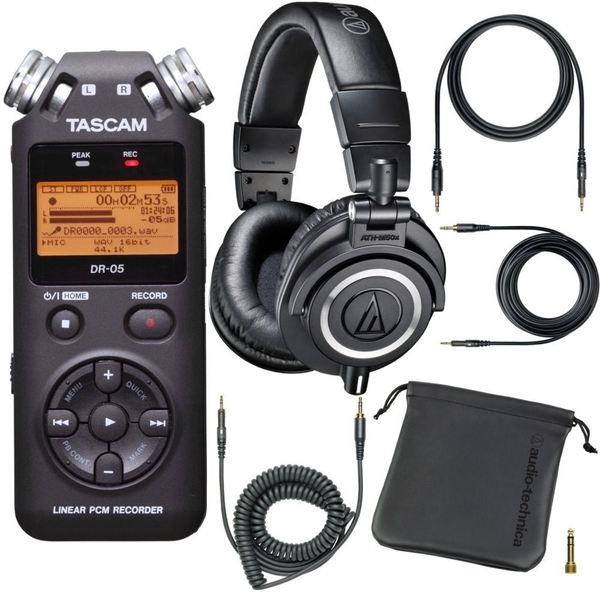 Tascam DR-05 PCM Portable Digital Recorder & Audio Technica M50X Headphones
