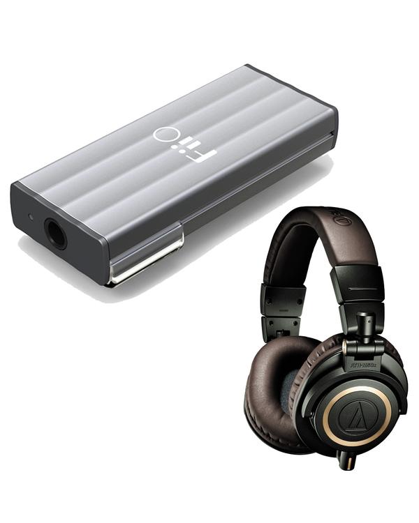 Audio-Technica ATH-M50x Professional Studio Headphones (Dark Green) with FiiO K1 Portable Headphone Amplifier