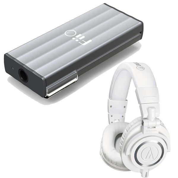Audio-Technica ATH-M50x Professional Studio Headphones (White) with FiiO K1 Portable Headphone Amplifier