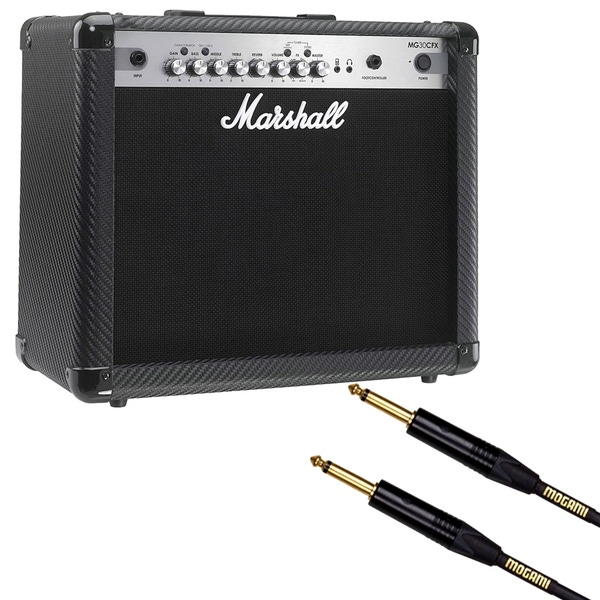 Marshall MG Series MG30CFX 30W 1x10 4-Channel Guitar Combo Amp with 10ft Mogami Cable
