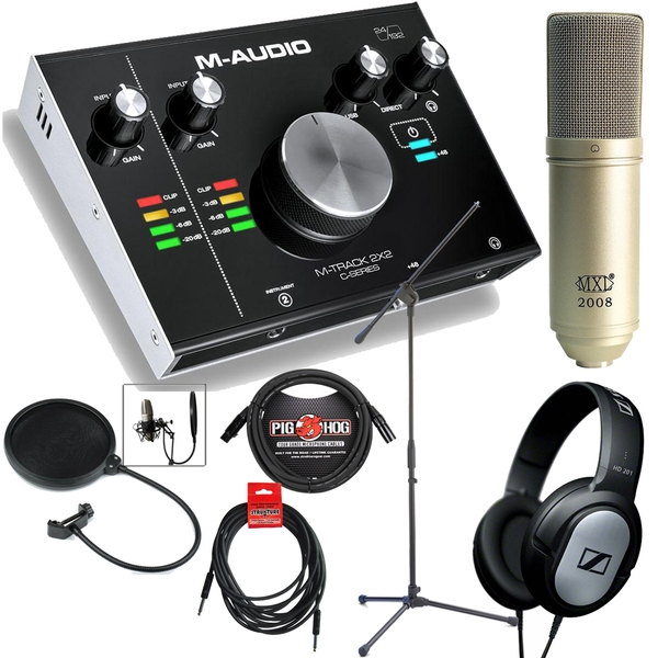M-Audio M-Track 2x2 2-Channel USB Interface Singer/Songwriter Recording Bundle