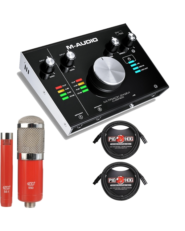 M-Audio M-Track 2x2M USB Recording Interface with MXL Microphone Set and Cables