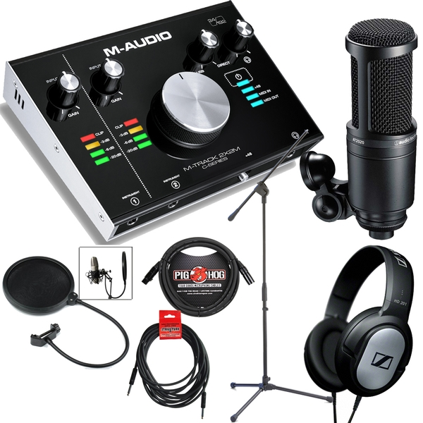 M-Audio M-Track 2x2M USB MIDI I/O Interface Singer/Songwriter Recording Bundle