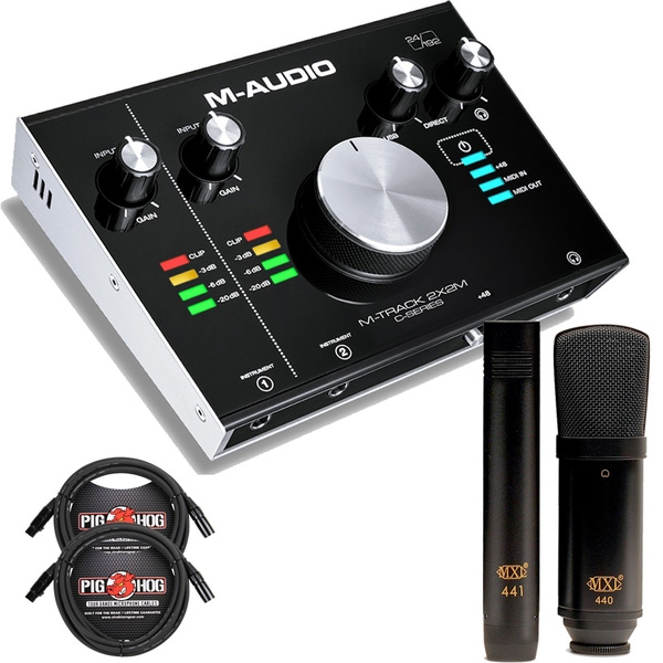 M-Audio M-Track 2x2M USB MIDI I/O Interface with MXL 440/441 Mic Set and Cables