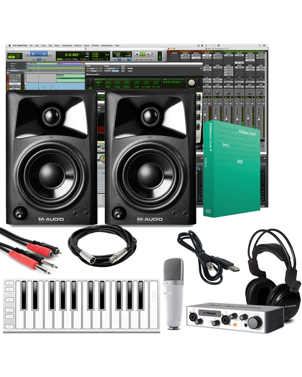 M-Audio Vocal Studio Pro Recording Package with M-Audio AV-42 Monitors and Silver MIDI Keyboard