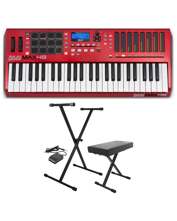Akai Professional MAX49 USB/MIDI/CV Keyboard Controller with Stand, Bench, & Sustain Pedal