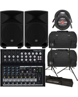 Mackie TH-12 Thump 12 Speaker Pair with Mackie Mix12FX Mixer, Carry Bags, Stands, & Cables
