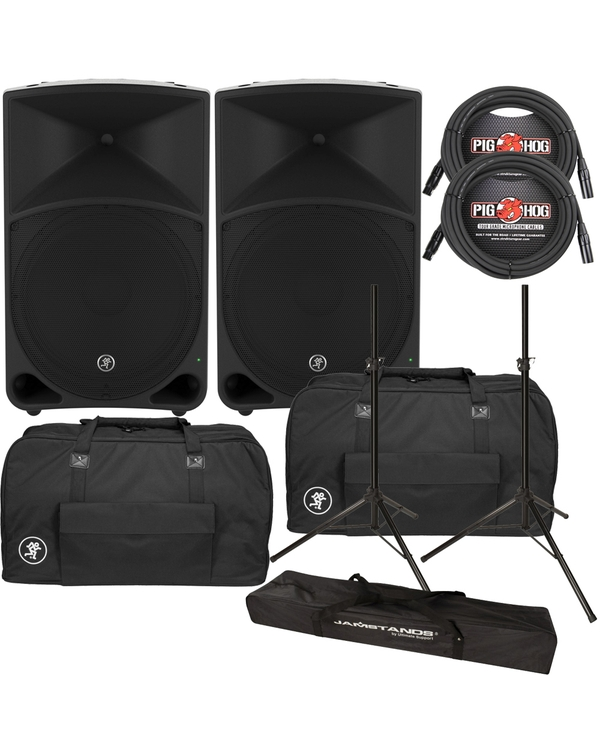 Mackie TH-15 Thump 15 Speaker Pair with Carry Bags, Stands, & Cables