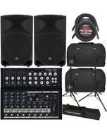 Mackie TH-15 Thump 15 Speaker Pair with Mackie Mix12FX Mixer, Carry Bags, Stands, & Cables