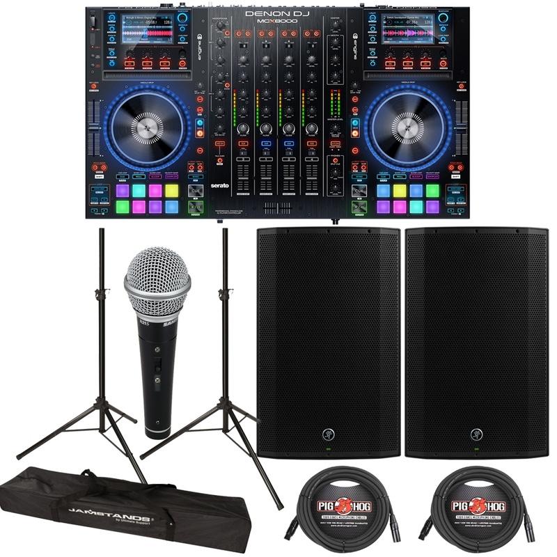 "Denon DJ MCX8000 DJ Player & Controller + Mackie Thump 15A 1300W 15"" Powered Speakers"