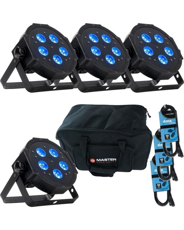 ADJ American DJ Mega Hex LED Par with RGBAW+UV x 4 + Bag + Cables