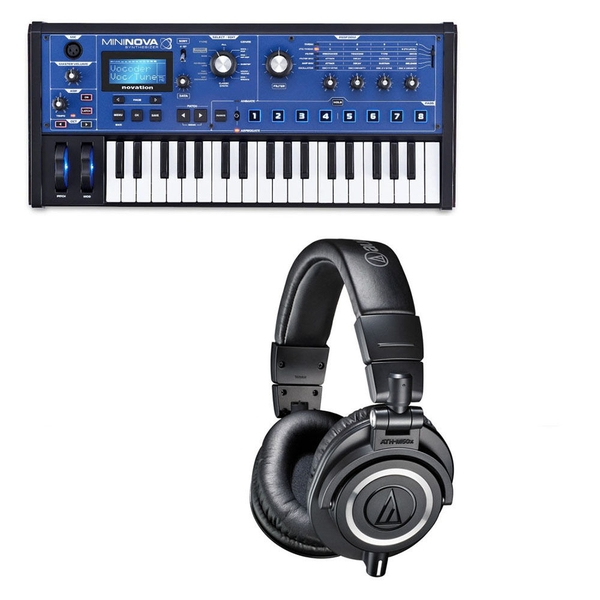 Novation Mininova 37-Key Keyboard Synthesizer & Audio Technica M50X Headphones