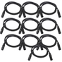 10-Pack of Monoprice 601602 1.5 Meter (5ft) 3-pin DMX Lighting & AES/EBU Cables
