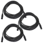 3-Pack of Monoprice 601606 6 Meter (20ft) 3-pin DMX Lighting & AES/EBU Cables