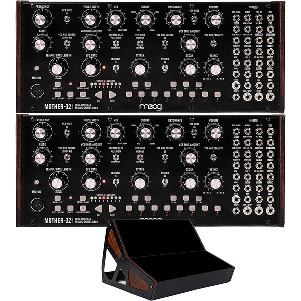 (2) Moog Mother 32 Semi-modular Analog Synthesizers with 2-Tier Rack