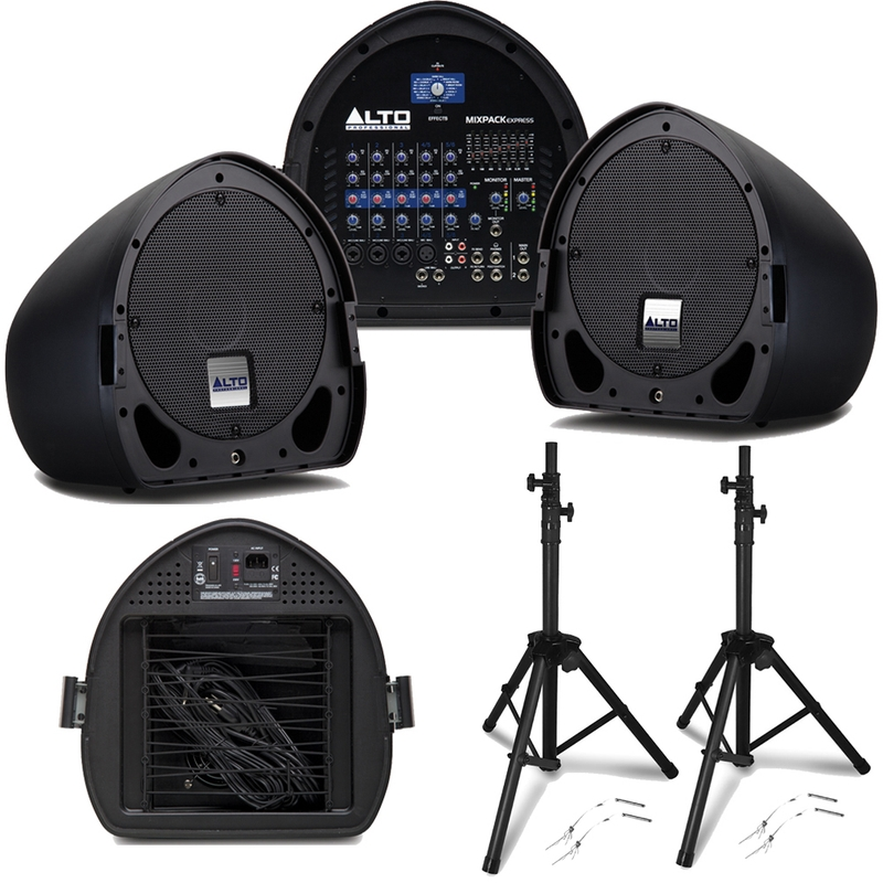 Alto Mixpack Express - Portable Powered PA System - Speakers + Mixer + Stands