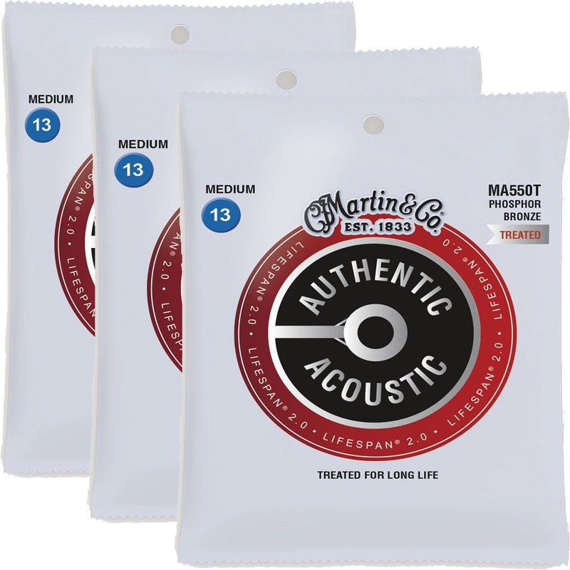 3-Pack Martin Authentic Lifespan 2.0 Phosphor Bronze Acoustic Guitar Strings Med MA550T