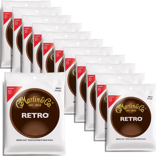 12 Sets of Martin MM12 Retro Acoustic Guitar Strings, Light (12-54)
