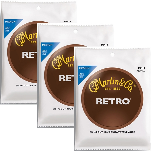3 Sets of Martin MM13 Retro Acoustic Guitar Strings, Medium (13-56)