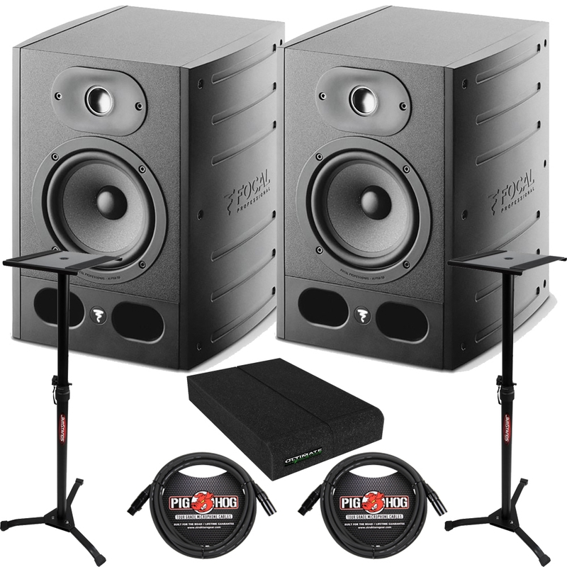 "Focal Alpha 50 - 5"" Powered Studio Monitors Pair + Stands + Cables Bundle"