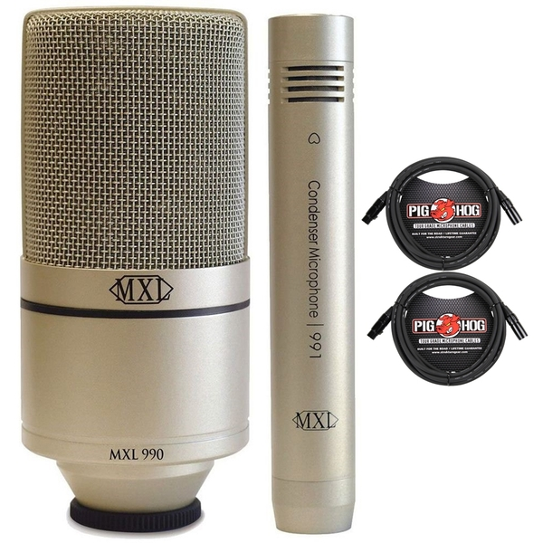 MXL 990/991 Recording Microphone Package and XLR Cables