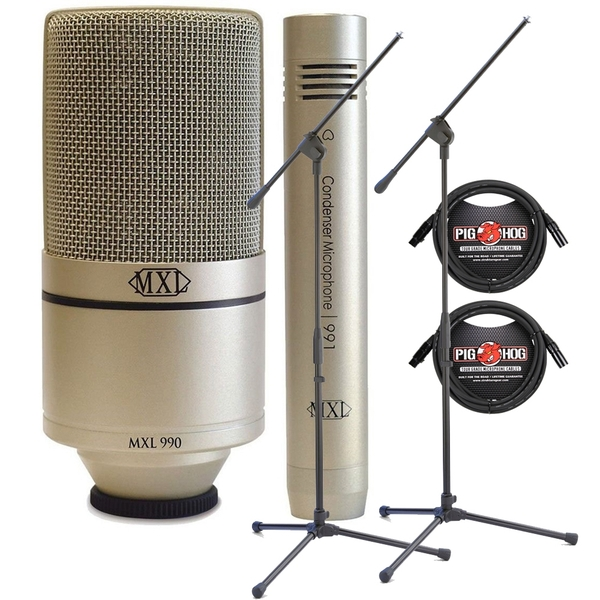 MXL 990/991 Recording Microphone Package with XLR Cables and Stands