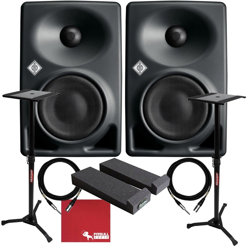 pitbull audio neumann kh 80 dsp active 4 studio monitor pair with 1 4 trs xlr cables pads. Black Bedroom Furniture Sets. Home Design Ideas