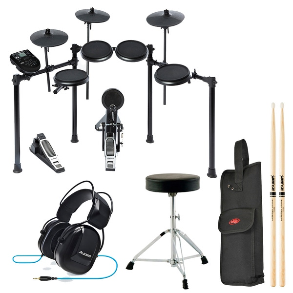 Alesis Nitro Kit 8-Piece Electronic Drum Set with Throne, Headphones, 3 Pairs of Sticks, and Stick Bag