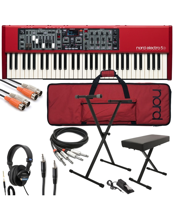 Nord Electro 5D 61 Stage Piano with Gig Bag, Stand, Bench, Sustain Pedal, Cable Kit, and Headphones