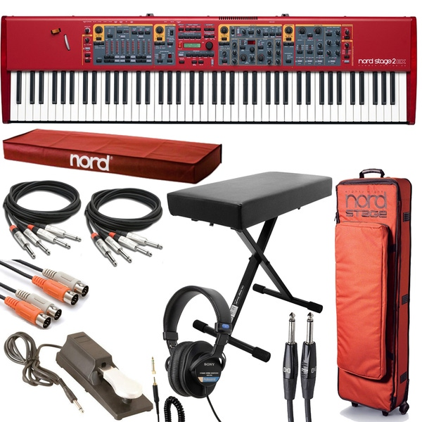 Nord Stage 2 EX 88 Digital Stage Piano with Rolling Gig Bag, Bench, Headphones, and Cable