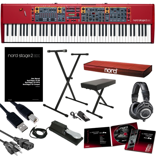 Nord Stage 2 EX 88 - 88-key Digital Stage Piano with Stand, Bench, Pedal, and Headphones