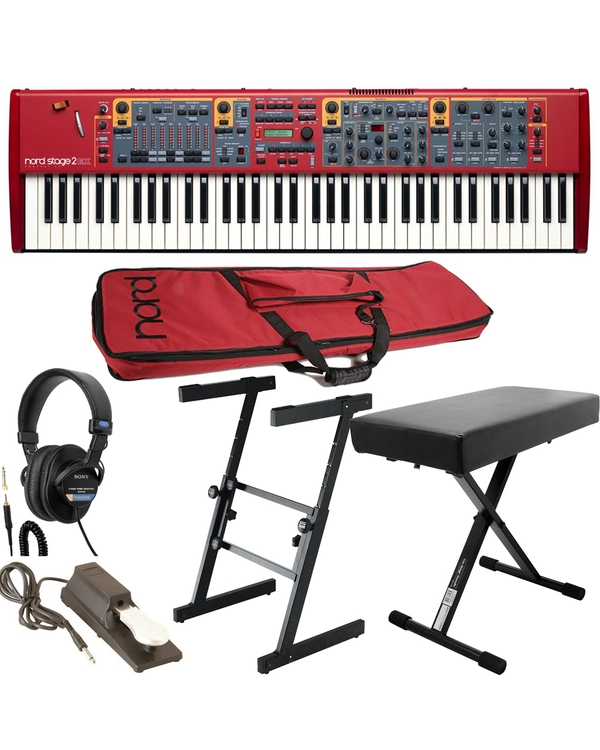 Nord Stage 2 EX Compact Digital Stage Piano with Soft Case, Headphones, Bench, Sustain Pedal, and Stand