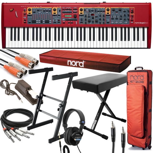 Nord Stage 2 EX HP76 Digital Stage Piano with Gig Bag, Stand, Cable Kit, Bench, and Headphones