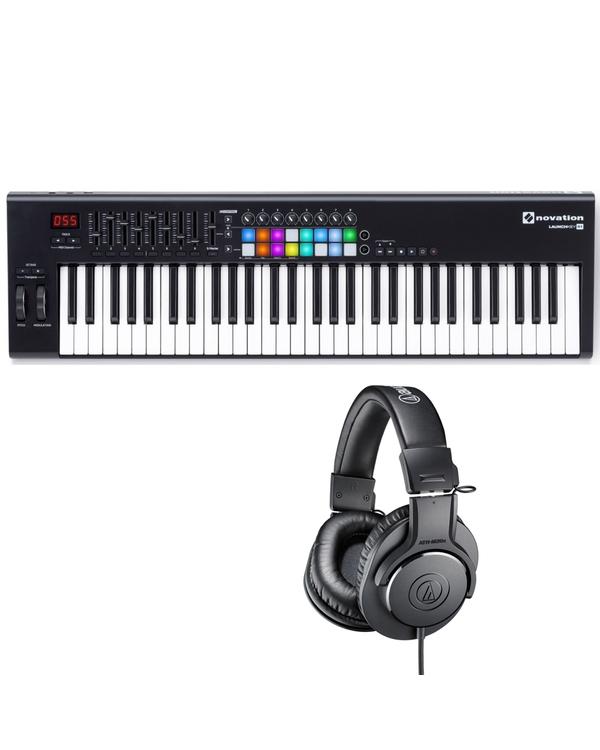 Novation Launchkey 61 MK2 USB/MIDI 61-Key Keyboard and Studio Headphones