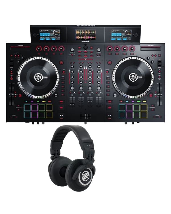Numark NS7III 4-Channel DJ Performance Controller with Reloop RHP10 Headphones (Black)