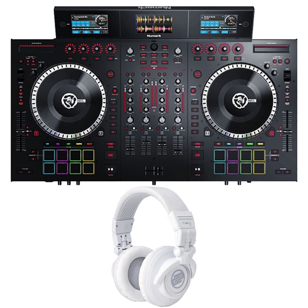 Numark NS7III 4-Channel DJ Performance Controller with Reloop RHP10 Headphones (White)