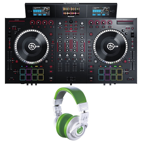 Numark NS7III 4-Channel DJ Performance Controller with Reloop RHP10 Headphones (Green)