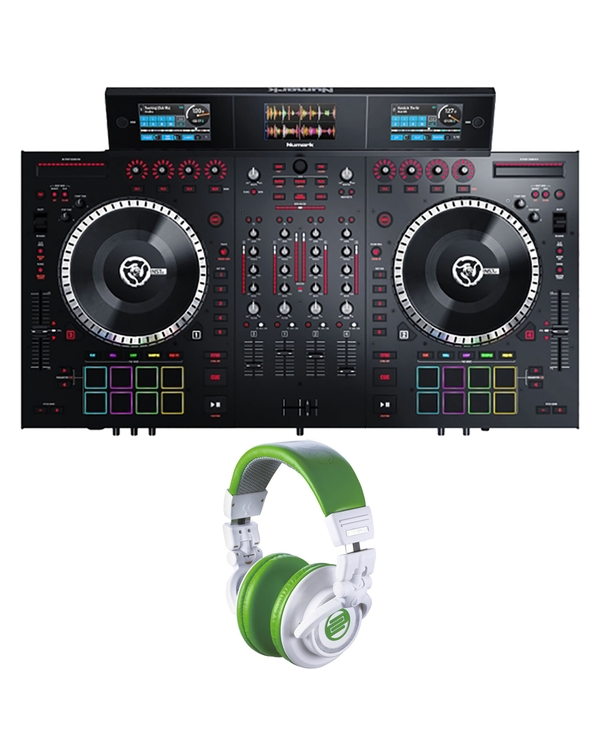 Numark NS7III 4-Channel DJ Performance Controller with Reloop RHP10 Headphones (Green)