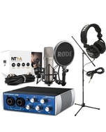 Rode NT1-A Recording Microphone Package with PreSonus AudioBox USB, Headphones, & Stand