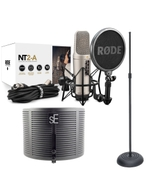 Rode NT2-A Condenser Microphone with sE Electronics RF-X Reflexion Filter X and Round Base Stand