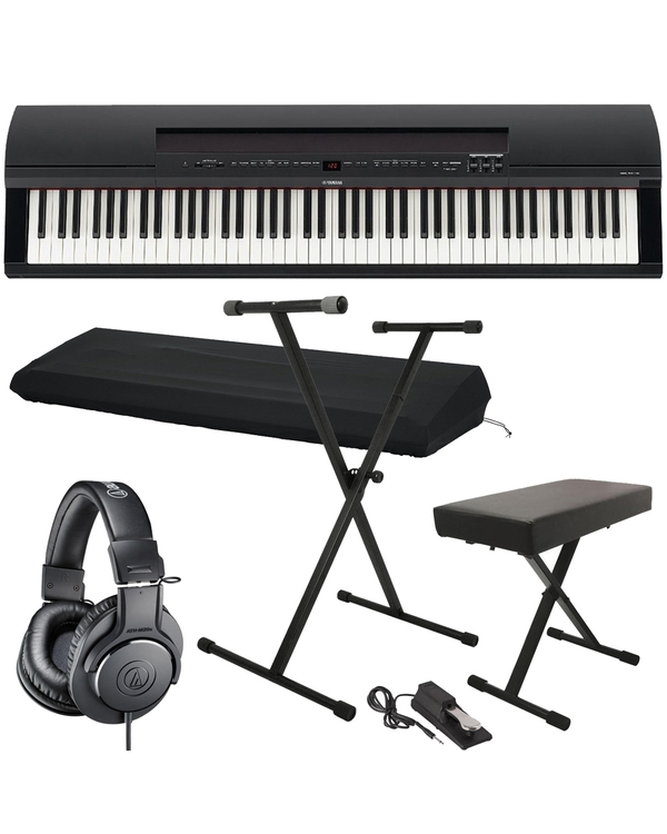 Yamaha P-255B 88-Key Digital Black Piano with Stand, Bench, Sustain Pedal, Dust Cover, & Headphones