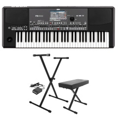 Korg PA600QT 61-Key Arranger Keyboard Workstation with Stand, Bench, & Sustain Pedal