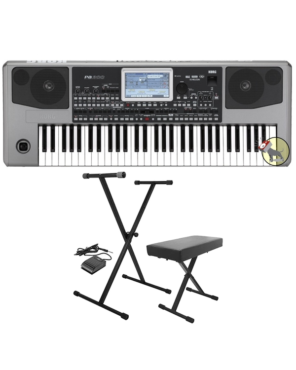 Korg Pa900 Professional Arranger 61-Key Keyboard with Stand, Bench, & Sustain Pedal