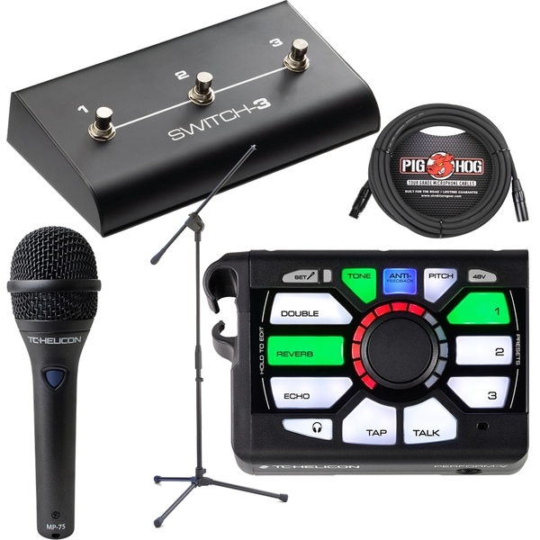 TC Helicon Perform V Vocal Effects Processor with Switch 3, MP-75 Microphone, Stand, and Cable