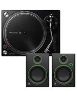 Pioneer PLX-500 K Black Direct Drive Turntable + Monitor Speakers Hi-Fi Stereo System