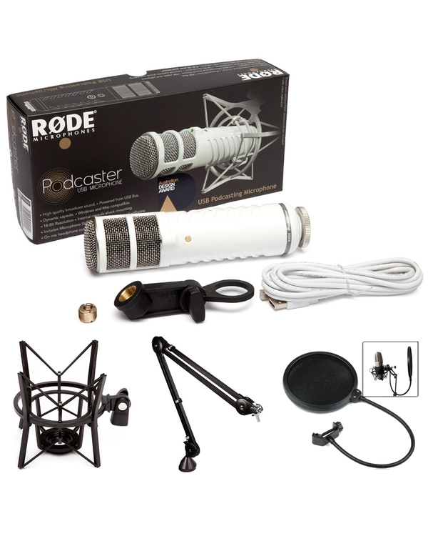 Rode Podcaster USB Broadcast Microphone with Studio Boom Arm, Shock Mount, and Pop Filter